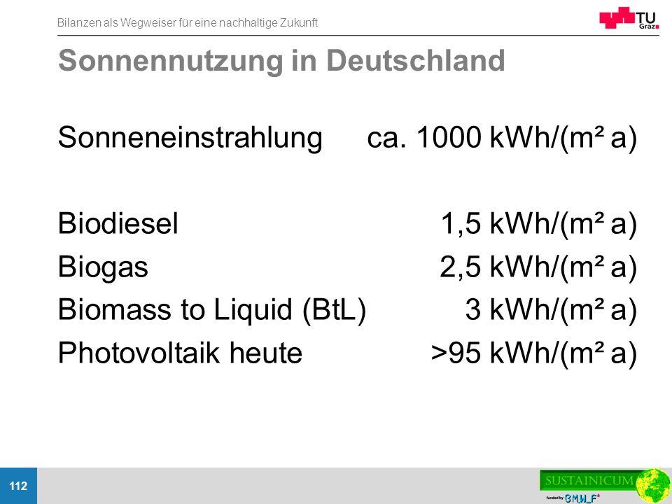 Bilanzen als Wegweiser für eine nachhaltige Zukunft 112 Sonnennutzung in Deutschland Sonneneinstrahlungca. 1000 kWh/(m² a) Biodiesel1,5 kWh/(m² a) Bio