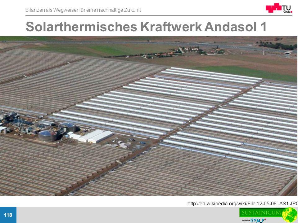 Bilanzen als Wegweiser für eine nachhaltige Zukunft 118 Solarthermisches Kraftwerk Andasol 1 http://en.wikipedia.org/wiki/File:12-05-08_AS1.JPG