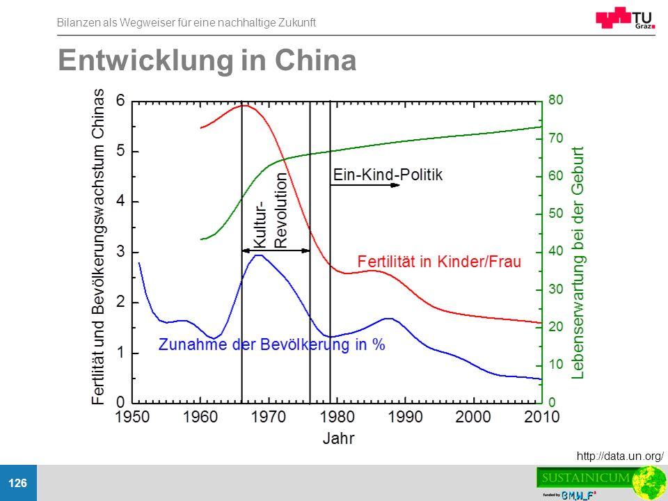 Bilanzen als Wegweiser für eine nachhaltige Zukunft 126 Entwicklung in China http://data.un.org/