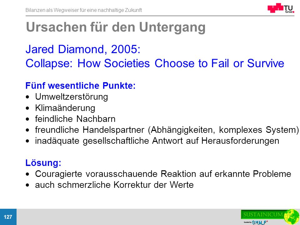 Bilanzen als Wegweiser für eine nachhaltige Zukunft 127 Jared Diamond, 2005: Collapse: How Societies Choose to Fail or Survive Fünf wesentliche Punkte