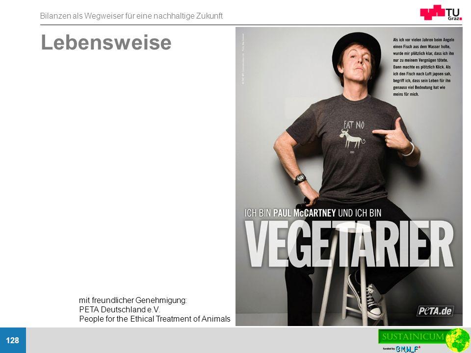 Bilanzen als Wegweiser für eine nachhaltige Zukunft 128 Lebensweise mit freundlicher Genehmigung: PETA Deutschland e.V. People for the Ethical Treatme