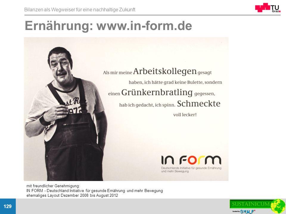 Bilanzen als Wegweiser für eine nachhaltige Zukunft 129 Ernährung: www.in-form.de mit freundlicher Genehmigung: IN FORM - Deutschland Initiative für g