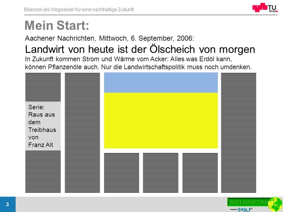 Bilanzen als Wegweiser für eine nachhaltige Zukunft 3 Mein Start: Aachener Nachrichten, Mittwoch, 6. September, 2006: Landwirt von heute ist der Ölsch