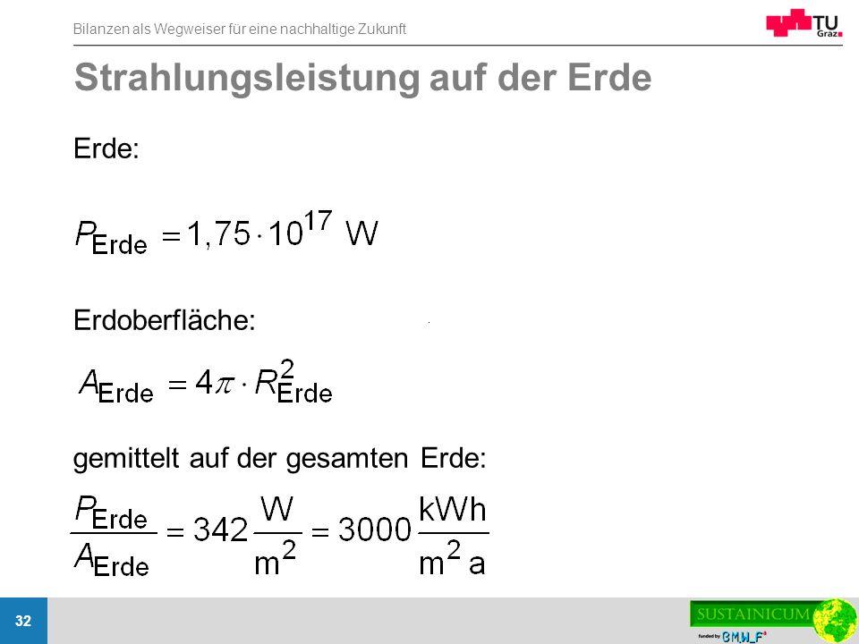Bilanzen als Wegweiser für eine nachhaltige Zukunft 32 Strahlungsleistung auf der Erde Erde: Erdoberfläche: gemittelt auf der gesamten Erde: