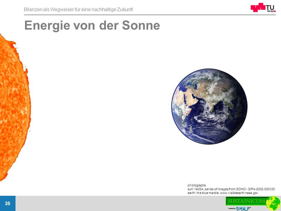 Bilanzen als Wegweiser für eine nachhaltige Zukunft 35 Energie von der Sonne photographs sun: NASA, series of images from SOHO - GPN-2002-000120 earth