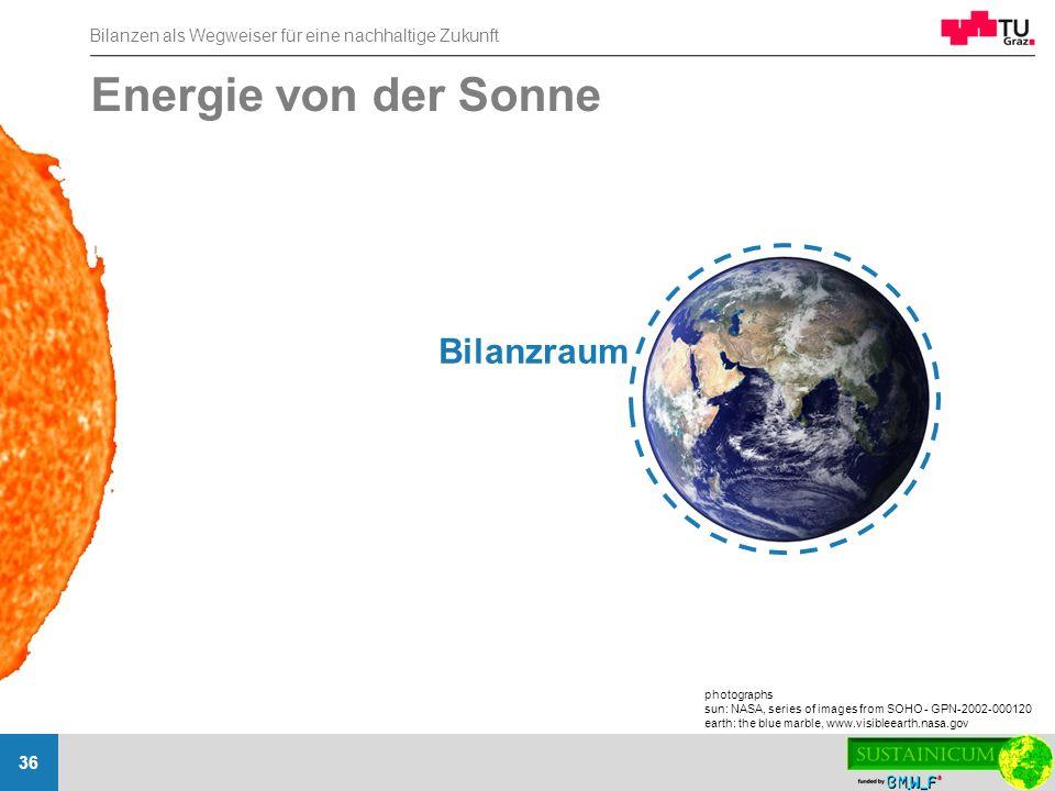 Bilanzen als Wegweiser für eine nachhaltige Zukunft 36 Energie von der Sonne photographs sun: NASA, series of images from SOHO - GPN-2002-000120 earth