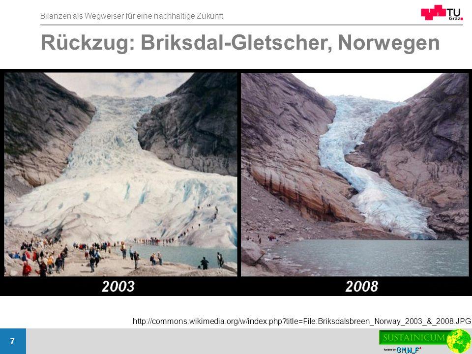 Bilanzen als Wegweiser für eine nachhaltige Zukunft 7 Rückzug: Briksdal-Gletscher, Norwegen http://commons.wikimedia.org/w/index.php?title=File:Briksd