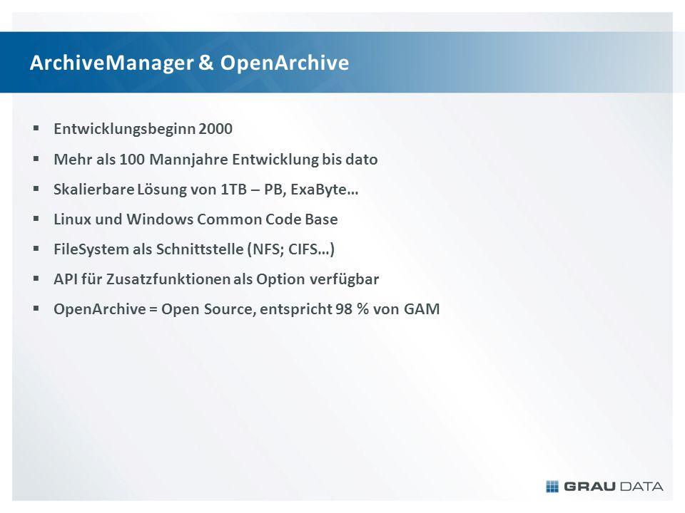 ArchiveManager & OpenArchive Entwicklungsbeginn 2000 Mehr als 100 Mannjahre Entwicklung bis dato Skalierbare Lösung von 1TB – PB, ExaByte… Linux und W