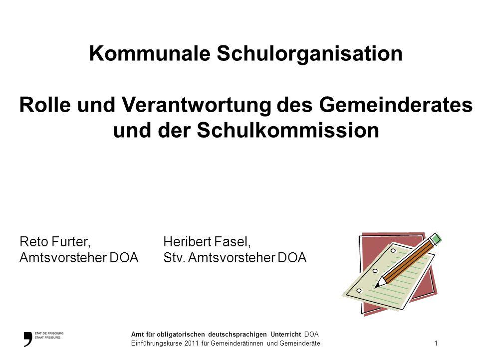 Kommunale Schulorganisation Rolle und Verantwortung des Gemeinderates und der Schulkommission Reto Furter,Heribert Fasel, Amtsvorsteher DOAStv.