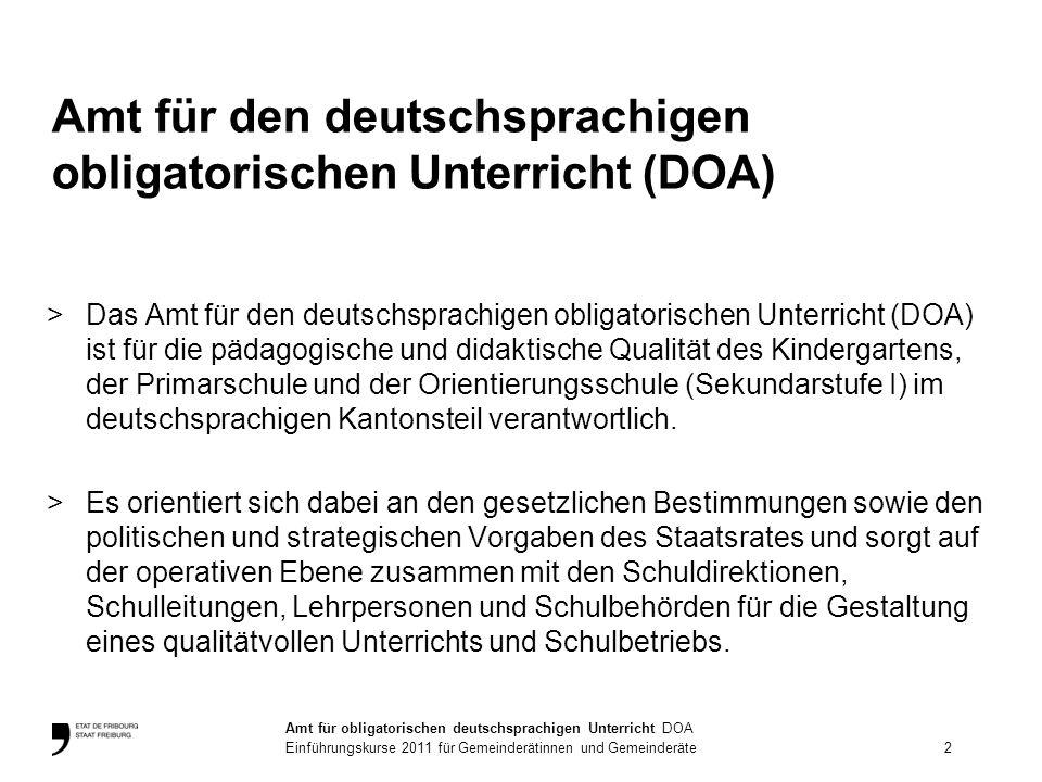 >Das Amt für den deutschsprachigen obligatorischen Unterricht (DOA) ist für die pädagogische und didaktische Qualität des Kindergartens, der Primarschule und der Orientierungsschule (Sekundarstufe I) im deutschsprachigen Kantonsteil verantwortlich.
