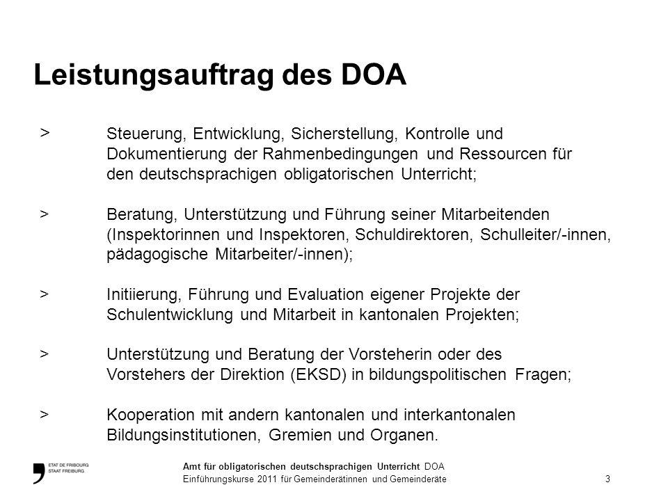 > Steuerung, Entwicklung, Sicherstellung, Kontrolle und Dokumentierung der Rahmenbedingungen und Ressourcen für den deutschsprachigen obligatorischen