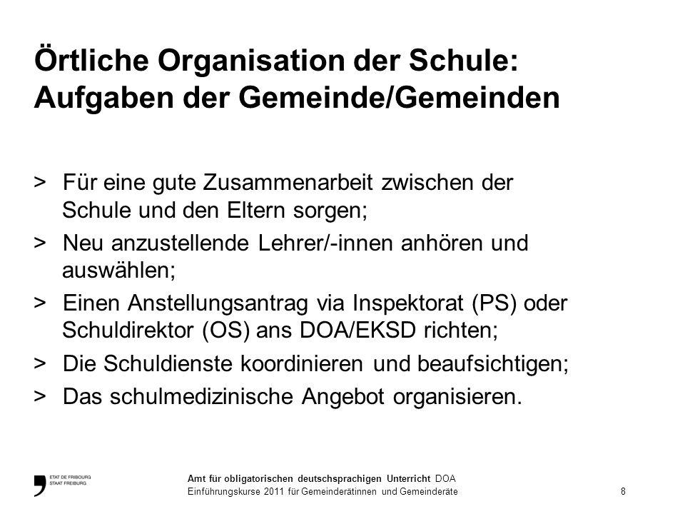 Eine Aufgabenteilung zwischen Gemeinde/n und Kanton Gemeinde/n: Schulkommission/Schulvorstand >Sie sind für die allgemeine Organisation, die Verwaltung und den Schulbetrieb zuständig.