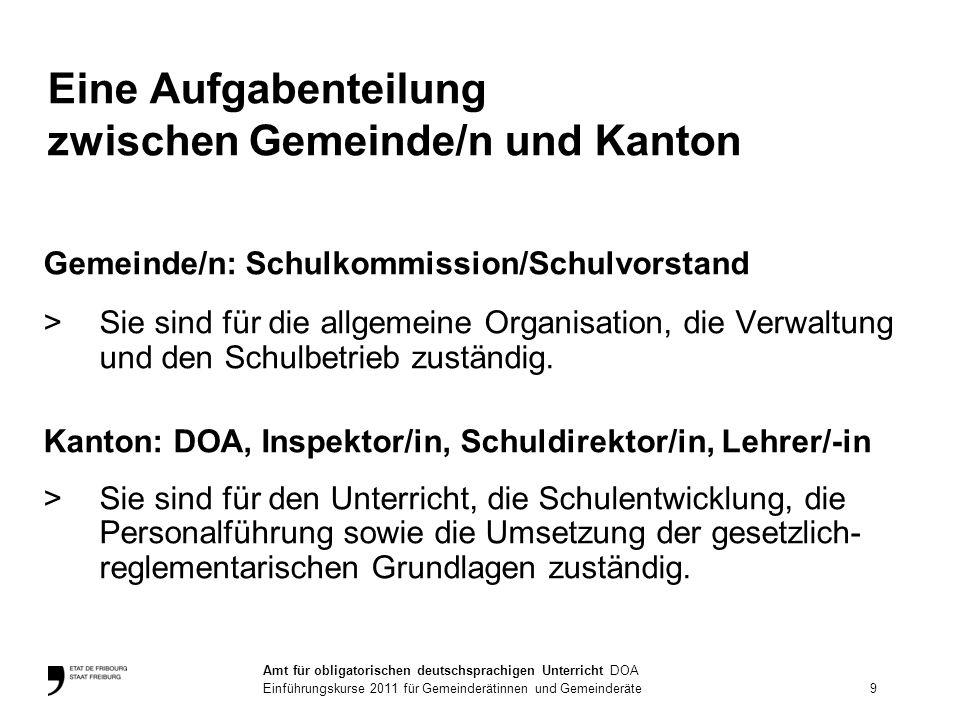 Eine Aufgabenteilung zwischen Gemeinde/n und Kanton Gemeinde/n: Schulkommission/Schulvorstand >Sie sind für die allgemeine Organisation, die Verwaltun