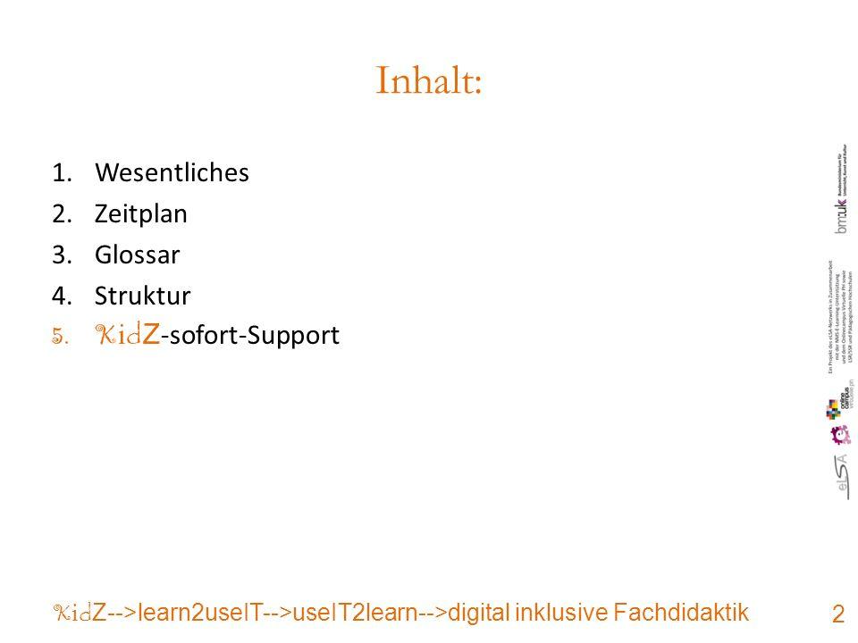 Inhalt: 1.Wesentliches 2.Zeitplan 3.Glossar 4.Struktur 5.K i d Z -sofort-Support 2 K i d Z-->learn2useIT-->useIT2learn-->digital inklusive Fachdidaktik
