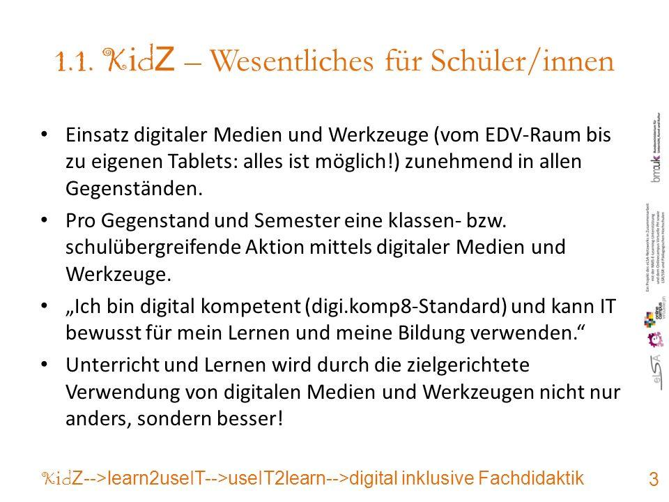 1.1. K i d Z – Wesentliches für Schüler/innen Einsatz digitaler Medien und Werkzeuge (vom EDV-Raum bis zu eigenen Tablets: alles ist möglich!) zunehme