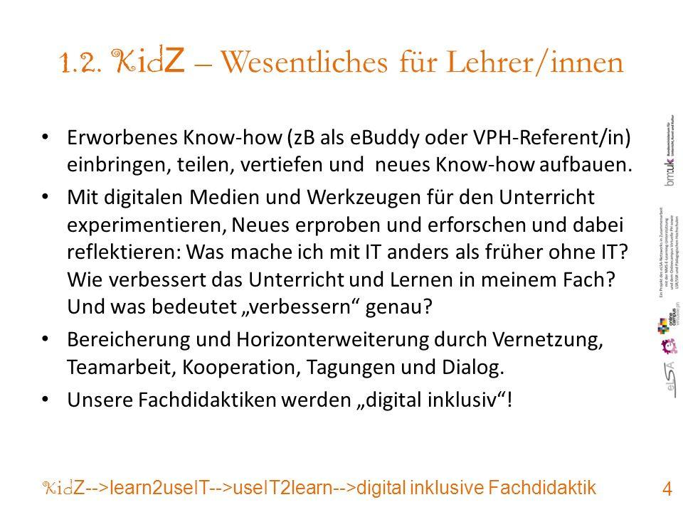 1.2. K i d Z – Wesentliches für Lehrer/innen Erworbenes Know-how (zB als eBuddy oder VPH-Referent/in) einbringen, teilen, vertiefen und neues Know-how