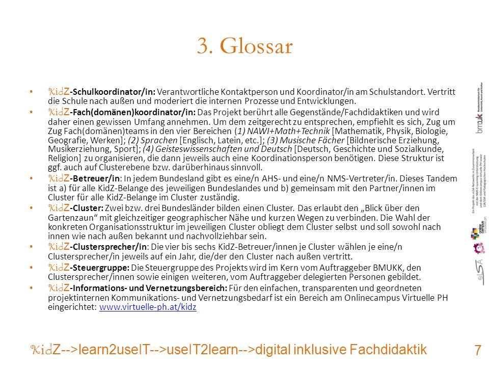 3. Glossar K i d Z -Schulkoordinator/in: Verantwortliche Kontaktperson und Koordinator/in am Schulstandort. Vertritt die Schule nach außen und moderie