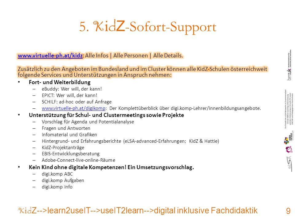 5. K i d Z -Sofort-Support 9 K i d Z-->learn2useIT-->useIT2learn-->digital inklusive Fachdidaktik