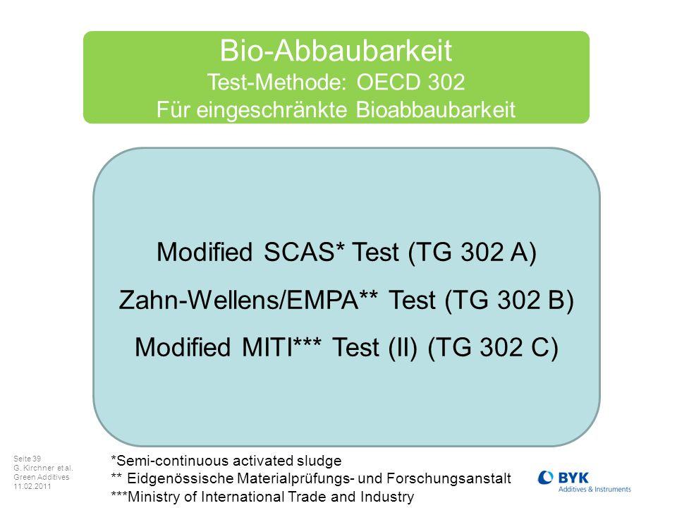 Seite 39 G. Kirchner et al. Green Additives 11.02.2011 Bio-Abbaubarkeit Test-Methode: OECD 302 Für eingeschränkte Bioabbaubarkeit Modified SCAS* Test