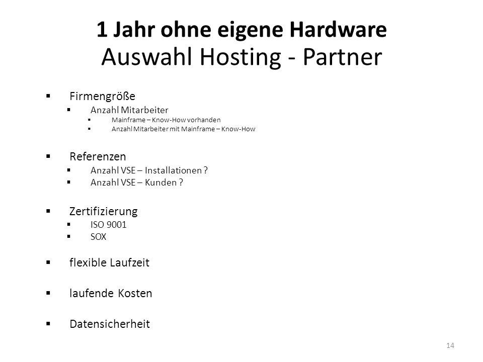 Firmengröße Anzahl Mitarbeiter Mainframe – Know-How vorhanden Anzahl Mitarbeiter mit Mainframe – Know-How Referenzen Anzahl VSE – Installationen .