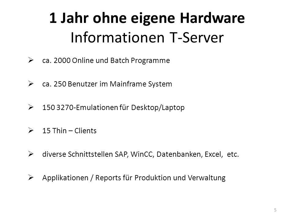 1 Jahr ohne eigene Hardware Projektablauf Download des bestehenden Systems Installation des gesicherten Systems kein Release - Wechsel erste Funktionstests des Hosting-Partners VPN-Verbindung erstellen / prüfen Modifikationen am TCP/IP etc.