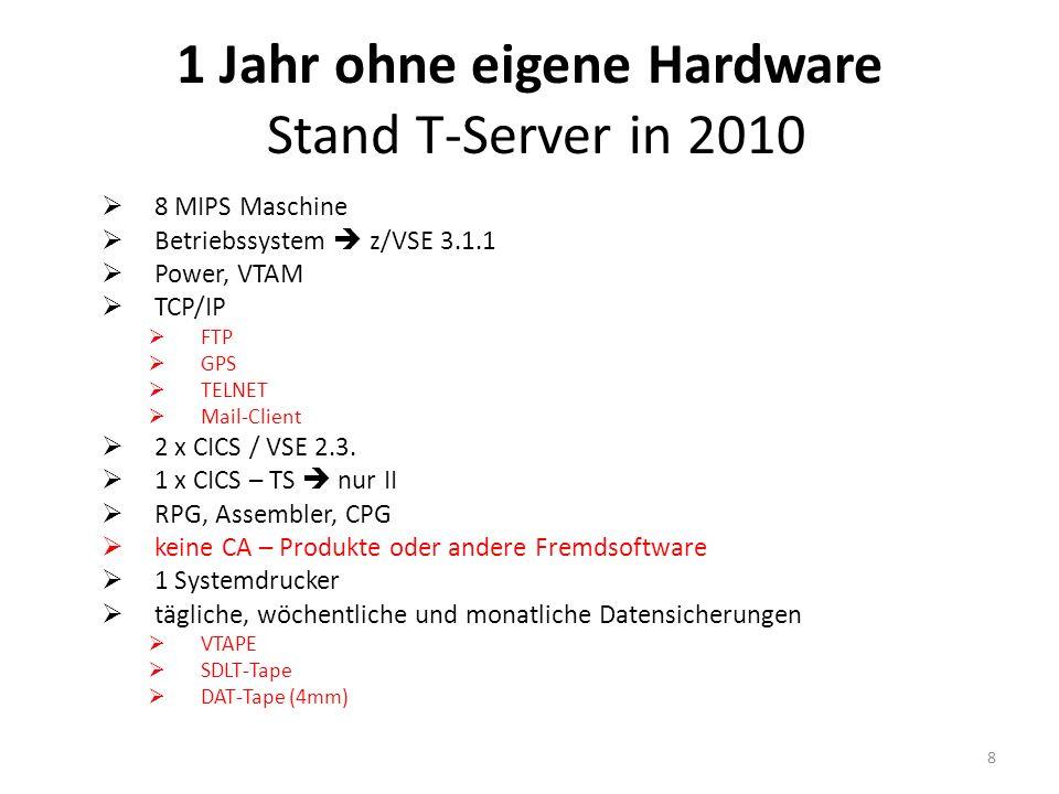 1 Jahr ohne eigene Hardware Umstellung am Wochenende Anpassen der Drucker-Adressen Anpassen der CPG5.ini für Produktionsstatistik auf Server Anpassen der CPGXML.INI für Kammer-Tool, etc.