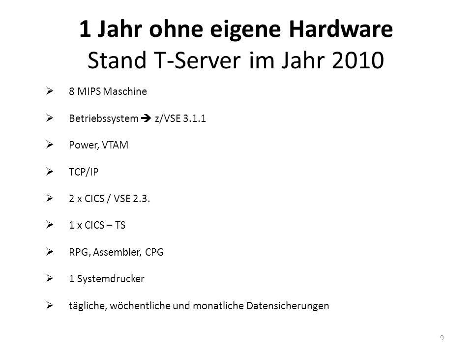 8 MIPS Maschine Betriebssystem z/VSE 3.1.1 Power, VTAM TCP/IP 2 x CICS / VSE 2.3. 1 x CICS – TS RPG, Assembler, CPG 1 Systemdrucker tägliche, wöchentl