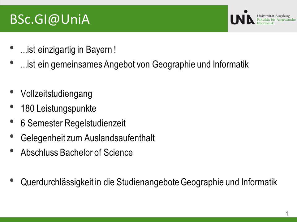 5 BSc.GI@UniA Studienaufbau Bachelorarbeit Wahlmodule Anwendungen der GeoinformatikTechniken der Geoinformatik Grundlagen der GeographieGrundlagen der Informatik Theoretische und Praktische Grundlagen der Geoinformatik Aufbau orientiert sich am Kerncurriculum Geoinformatik der Gesellschaft für Geoinformatik (2009)