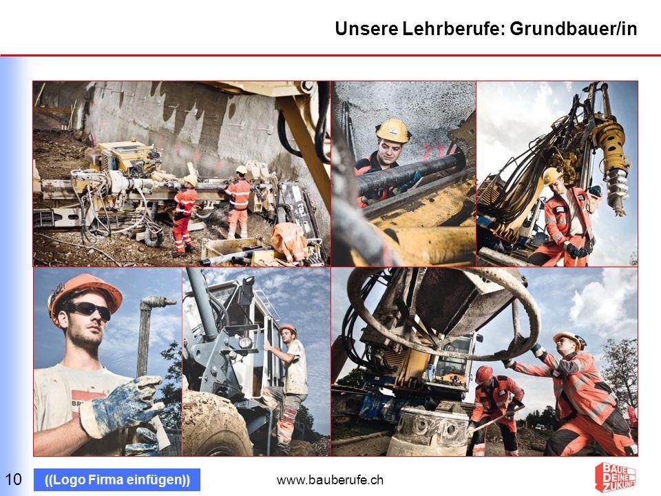 www.bauberufe.ch ((Logo Firma einfügen)) Unsere Lehrberufe: Industrie- und Unterlagsbodenbauer/in 11