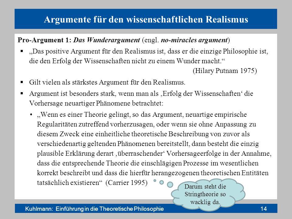 Argumente für den wissenschaftlichen Realismus Pro-Argument 1: Das Wunderargument (engl. no-miracles argument) Das positive Argument für den Realismus