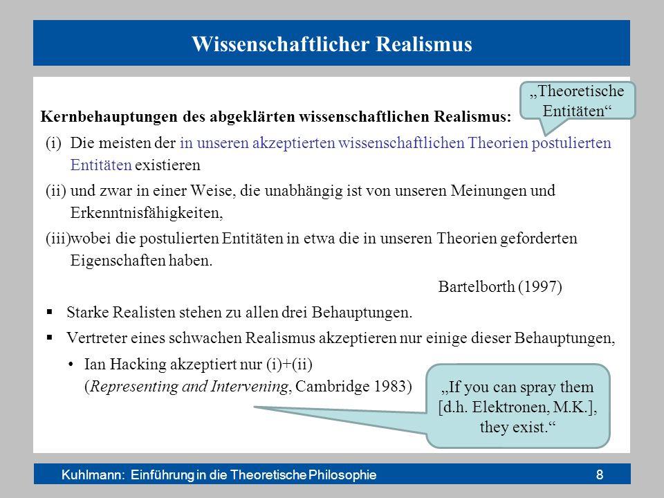 Die Physiker und der Realismus Gängiges Muster: Auf Nachfrage und wenn es kontrovers wird: Anti-Realisten (meist Instrumentalisten) Im Herzen und im Vollzug ihrer Tätigkeit: Realisten Abschreckendes Beispiel: S.