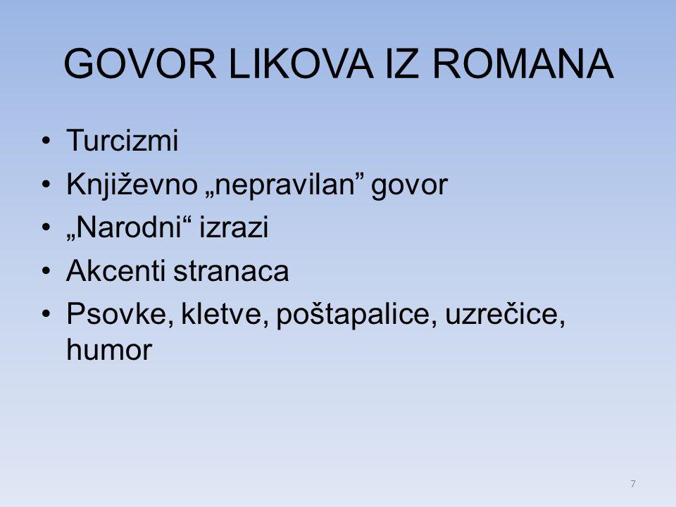 GOVOR LIKOVA IZ ROMANA Turcizmi Književno nepravilan govor Narodni izrazi Akcenti stranaca Psovke, kletve, poštapalice, uzrečice, humor 7