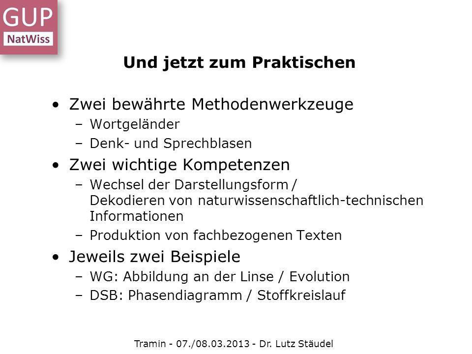 Und jetzt zum Praktischen Tramin - 07./08.03.2013 - Dr. Lutz Stäudel Zwei bewährte Methodenwerkzeuge –Wortgeländer –Denk- und Sprechblasen Zwei wichti