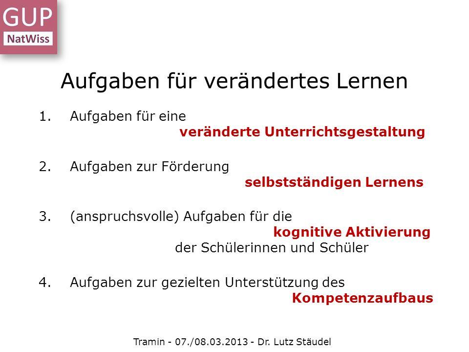 Aufgaben für verändertes Lernen Tramin - 07./08.03.2013 - Dr. Lutz Stäudel 1.Aufgaben für eine veränderte Unterrichtsgestaltung 2.Aufgaben zur Förderu