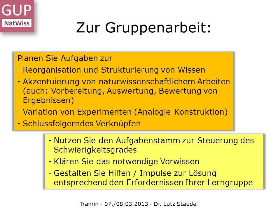 Zur Gruppenarbeit: Planen Sie Aufgaben zur -Reorganisation und Strukturierung von Wissen -Akzentuierung von naturwissenschaftlichem Arbeiten (auch: Vo