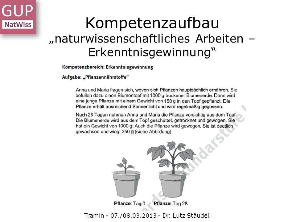 Kompetenzaufbau naturwissenschaftliches Arbeiten – Erkenntnisgewinnung Tramin - 07./08.03.2013 - Dr. Lutz Stäudel