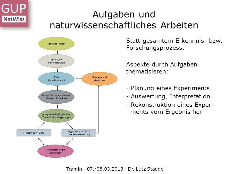 Statt gesamtem Erkennnis- bzw. Forschungsprozess: Aspekte durch Aufgaben thematisieren: - Planung eines Experiments - Auswertung, Interpretation - Rek