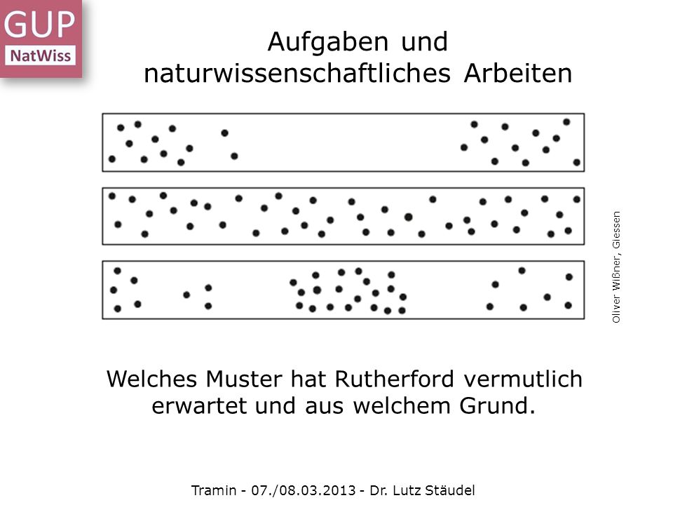 Aufgaben und naturwissenschaftliches Arbeiten Tramin - 07./08.03.2013 - Dr. Lutz Stäudel Welches Muster hat Rutherford vermutlich erwartet und aus wel