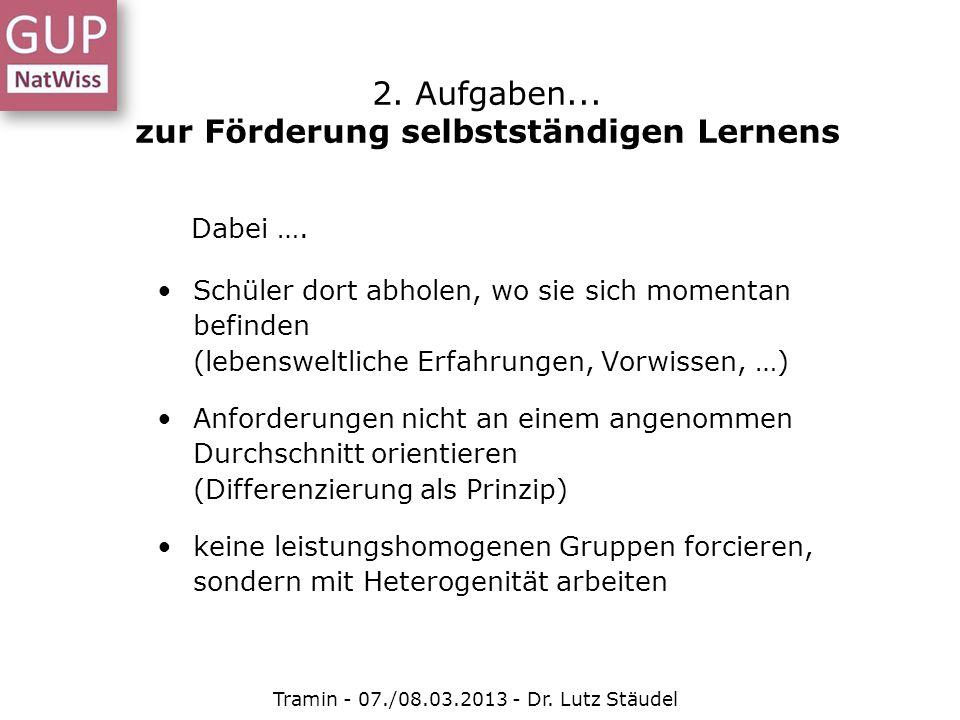 Tramin - 07./08.03.2013 - Dr.Lutz Stäudel Heterogenität in allen Klassen 2.