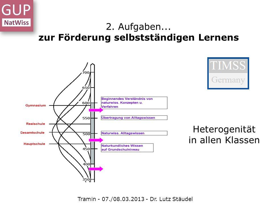Tramin - 07./08.03.2013 - Dr. Lutz Stäudel Heterogenität in allen Klassen 2. Aufgaben... zur Förderung selbstständigen Lernens