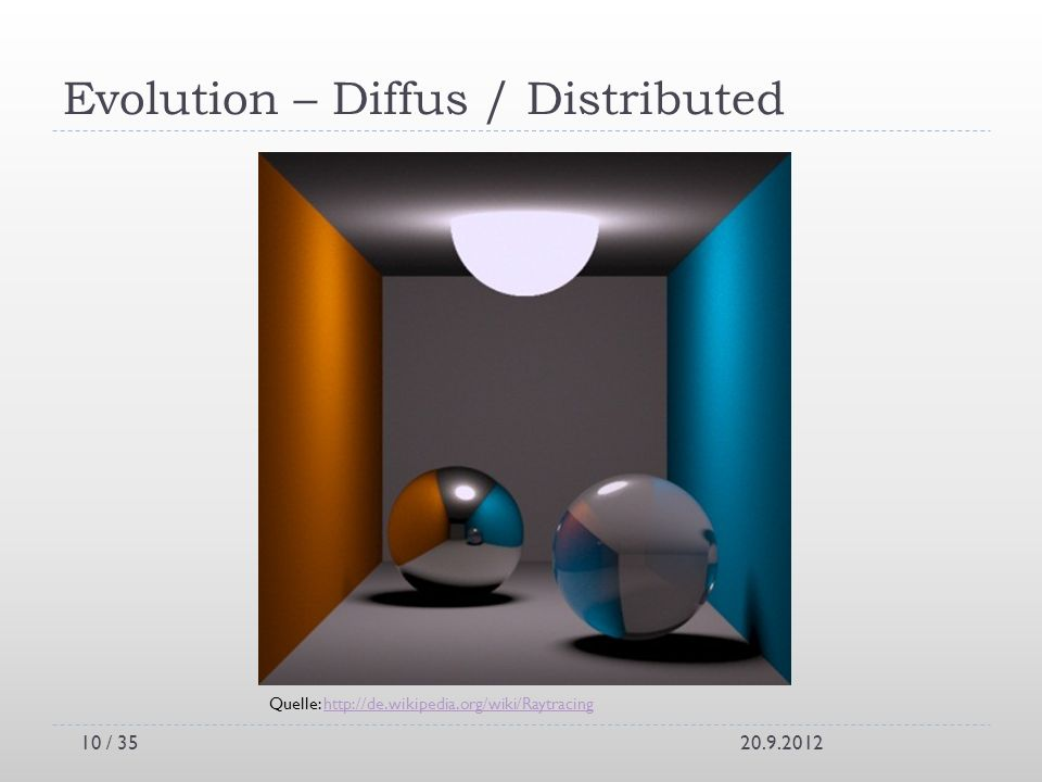 Evolution – Diffus / Distributed 20.9.2012 Quelle: http://de.wikipedia.org/wiki/Raytracinghttp://de.wikipedia.org/wiki/Raytracing 10 / 35