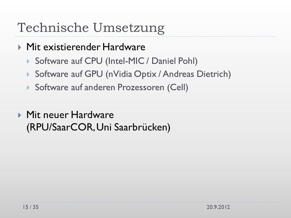 Technische Umsetzung Mit existierender Hardware Software auf CPU (Intel-MIC / Daniel Pohl) Software auf GPU (nVidia Optix / Andreas Dietrich) Software