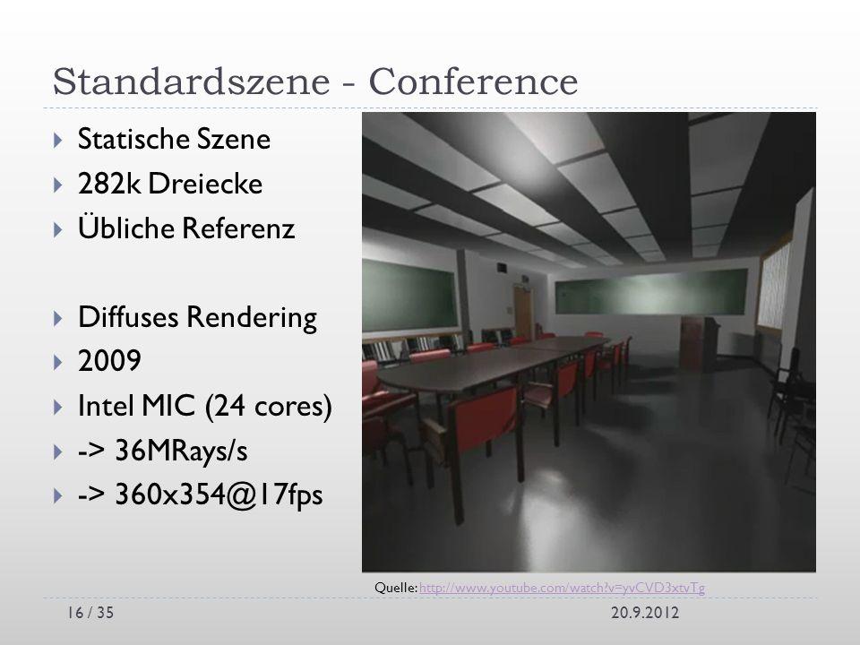 Standardszene - Conference Statische Szene 282k Dreiecke Übliche Referenz Diffuses Rendering 2009 Intel MIC (24 cores) -> 36MRays/s -> 360x354@17fps 2