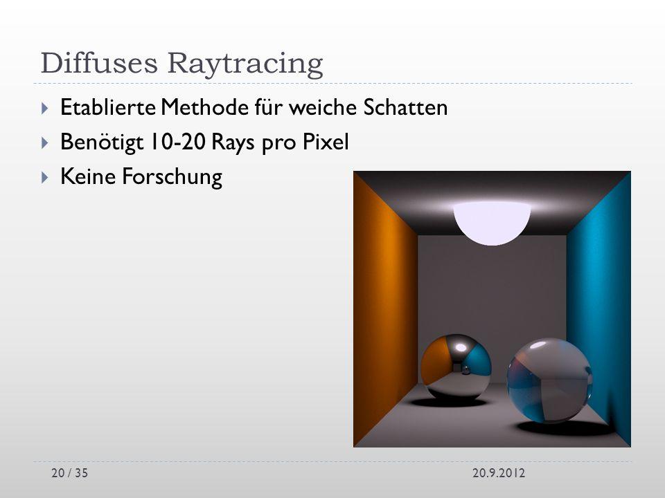 Diffuses Raytracing Etablierte Methode für weiche Schatten Benötigt 10-20 Rays pro Pixel Keine Forschung 20.9.201220 / 35