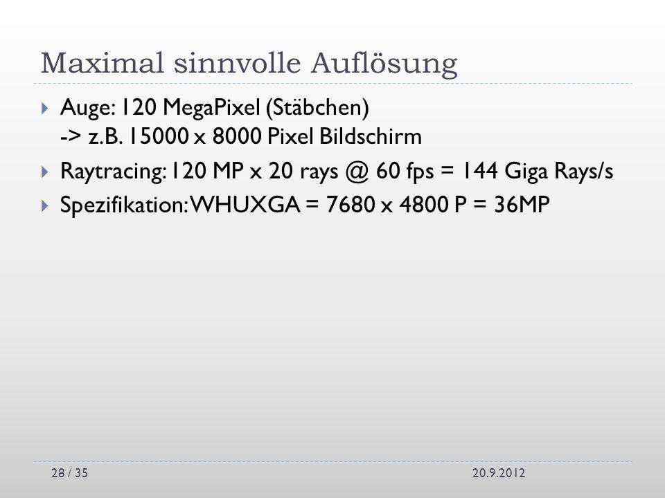 Maximal sinnvolle Auflösung Auge: 120 MegaPixel (Stäbchen) -> z.B. 15000 x 8000 Pixel Bildschirm Raytracing: 120 MP x 20 rays @ 60 fps = 144 Giga Rays