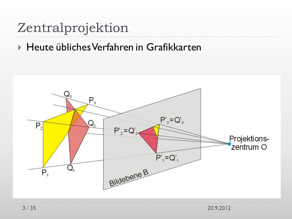 Zentralprojektion Heute übliches Verfahren in Grafikkarten 20.9.20123 / 35