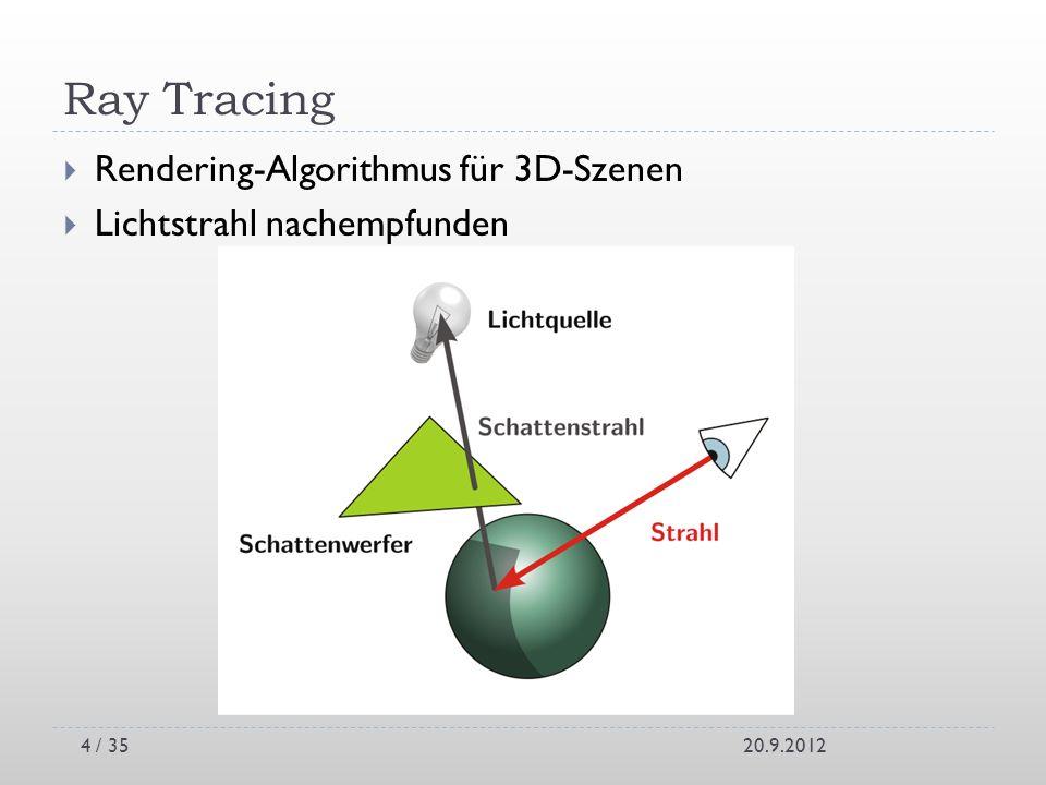 Ray Tracing Rendering-Algorithmus für 3D-Szenen Lichtstrahl nachempfunden 20.9.20124 / 35