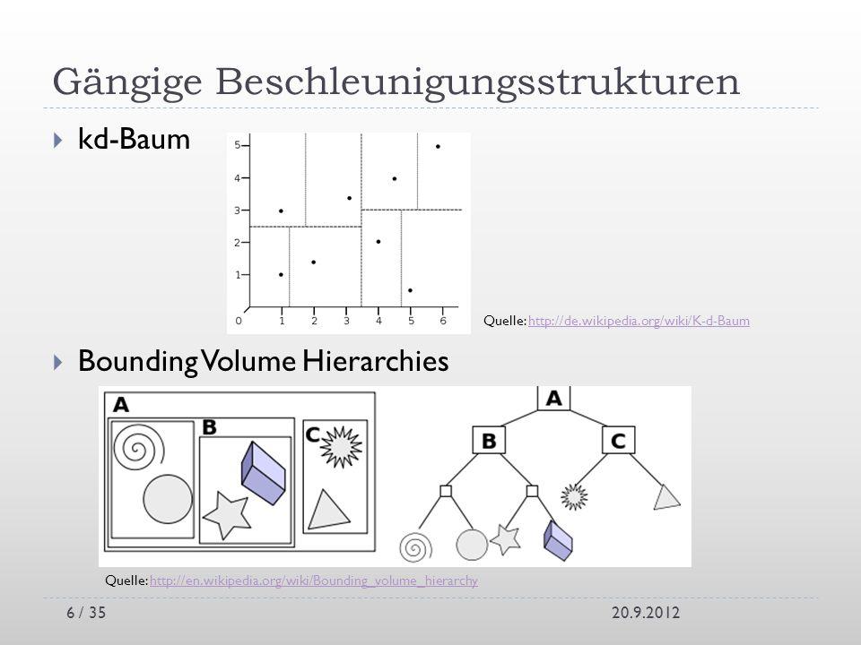 Gängige Beschleunigungsstrukturen kd-Baum Bounding Volume Hierarchies 20.9.2012 Quelle: http://en.wikipedia.org/wiki/Bounding_volume_hierarchyhttp://e