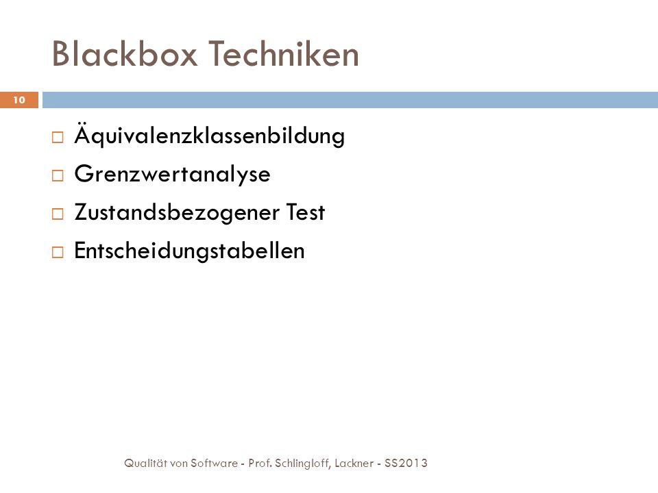 Blackbox Techniken 10 Äquivalenzklassenbildung Grenzwertanalyse Zustandsbezogener Test Entscheidungstabellen Qualität von Software - Prof. Schlingloff
