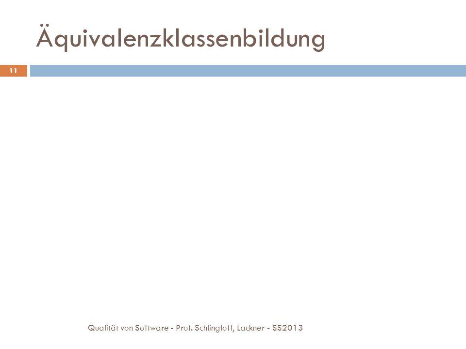 Äquivalenzklassenbildung 11 Qualität von Software - Prof. Schlingloff, Lackner - SS2013